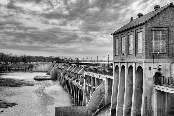 Wall Art - Photograph - Lake Overholser Dam Black And White by JC Findley
