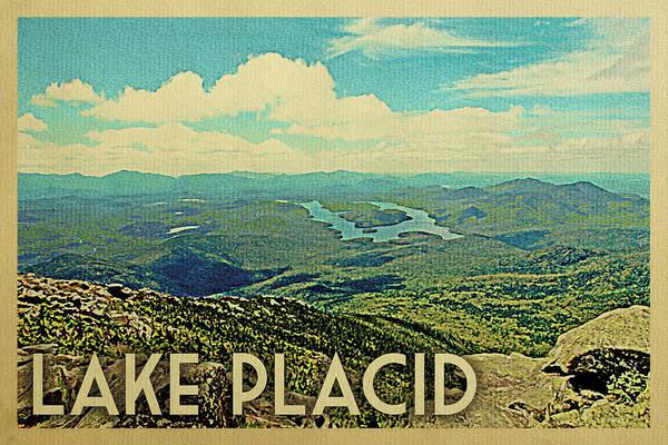 Adirondack Mountains Digital Art - Lake Placid Travel Poster by Flo Karp