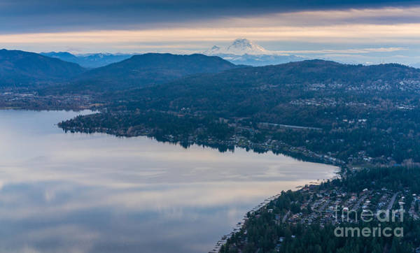 Pikes Place Photograph - Lake Sammamish Towards Issaquah And Rainier by Mike Reid