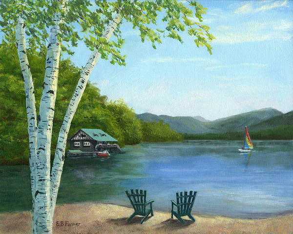 Adirondack Chair Wall Art - Painting - Lake Saranac Boat House by Elaine Farmer