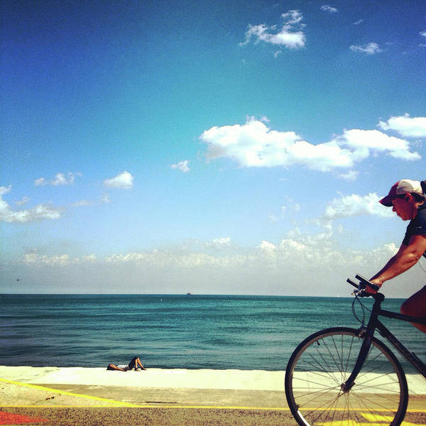 Photograph - Lake Shore Bike, Blue Sky Water Horizon, Chicago by Patrick Malon