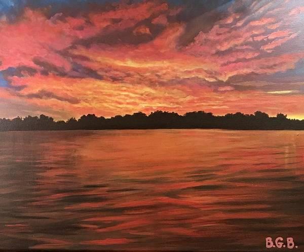 Wall Art - Painting - Lake Sunset by Brittney Bruegger