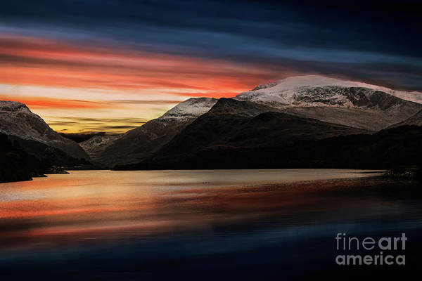 Wall Art - Photograph - Lake Sunset Snowdonia by Adrian Evans