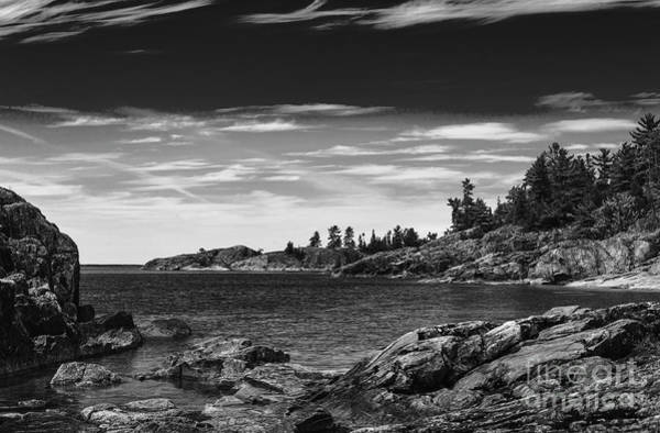 Photograph - Lake Superior Coastline - Monochrome by Les Palenik