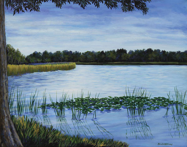 Painting - Lake Tarpon Shoreline On A Cloudy Day by Penny Birch-Williams
