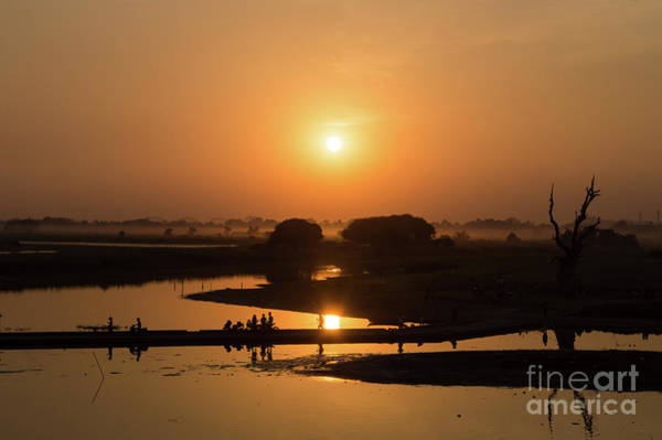 Myanmar Wall Art - Photograph - Lake Taungthaman by Louise Poggianti