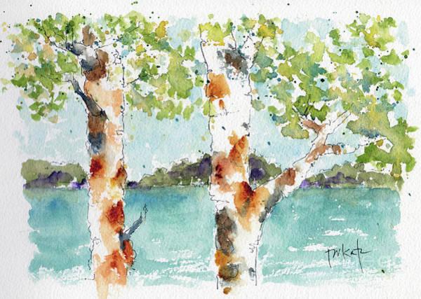 Painting - Lake Through The Poplars by Pat Katz