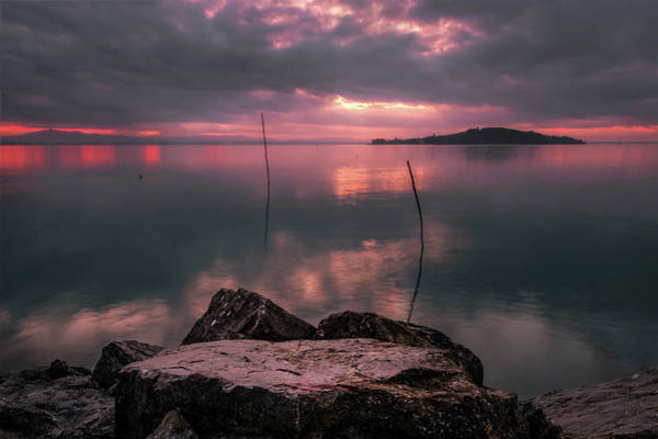 Photograph - Lake Trasimeno On Fire by Matteo Viviani