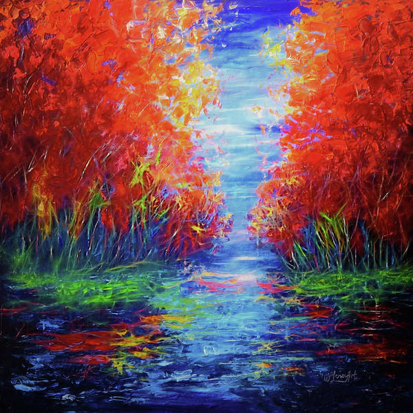 Painting - Olena Art Lake View Abstract Artwork by OLena Art Brand