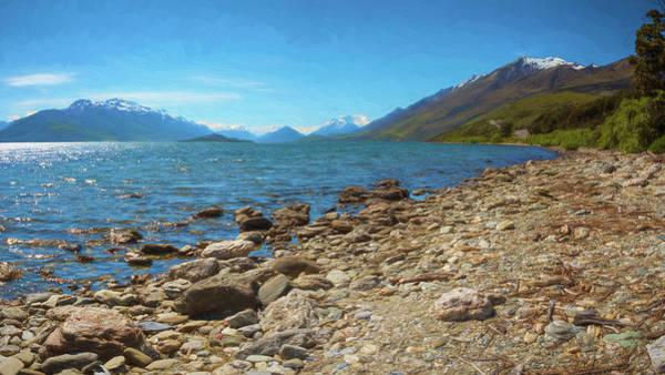 Wall Art - Photograph - Lake Wakatipu New Zealand Rocky Shore by Joan Carroll