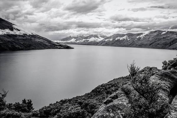 Photograph - Lake Wanaka From Mou Waho New Zealand Bw by Joan Carroll