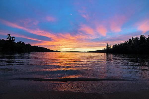 Photograph - Lake Winnipesaukee Sunset Carry Beach Wolfeboro Nh Blue Skies by Toby McGuire