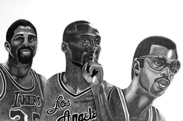 Nba Drawing - Laker Greats by Keeyonardo
