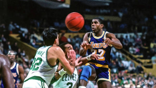 3596e8a91 James Worthy Wall Art - Painting - Lakers Vs Celtics by Sebastian Plat