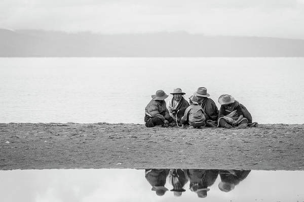 Photograph - Lakeshore Discussion, Namtso, 2007 by Hitendra SINKAR