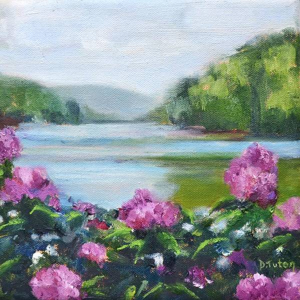Painting - Lakeside Blooms by Donna Tuten