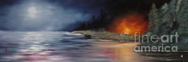 Anglin Wall Art - Painting - Lakeside Campfire by Kalib Anglin