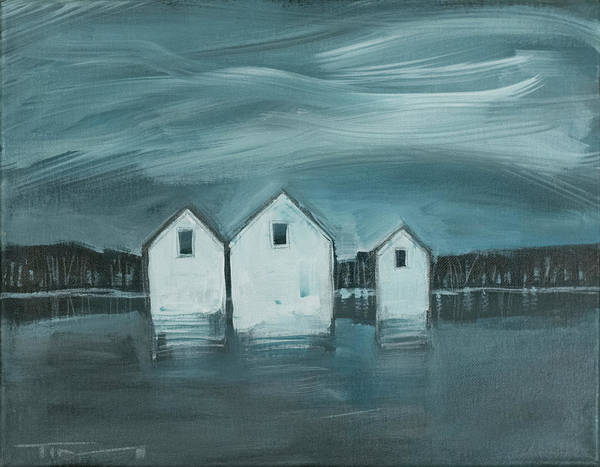 Painting - Lakeside Cottages Winter by Tim Nyberg