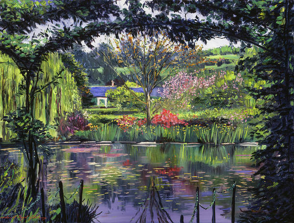Arbor Wall Art - Painting - Lakeside Giverny by David Lloyd Glover