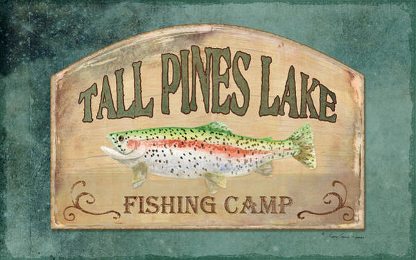Trout Watercolor Wall Art - Painting - Lakeside Lodge - Fishing Camp by Audrey Jeanne Roberts