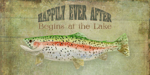 Trout Watercolor Wall Art - Painting - Lakeside Lodge - Happily Ever After by Audrey Jeanne Roberts