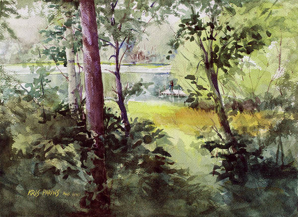 Up North Painting - Lakeside Shade by Kris Parins