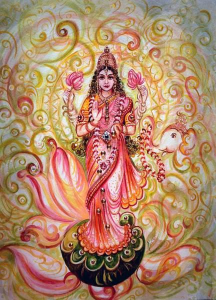 Hindu Goddess Wall Art - Painting - Lakshmi Darshanam by Harsh Malik