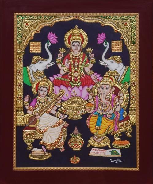 Hindu Goddess Wall Art - Painting - Lakshmi Ganesh Saraswati by Vimala Jajoo