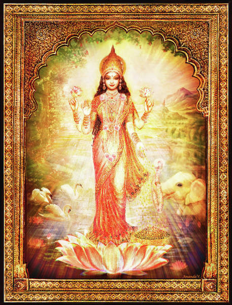 Wall Art - Mixed Media - Lakshmi Goddess Of Fortune With Lighter Frame by Ananda Vdovic