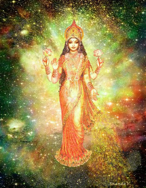 Wall Art - Mixed Media - Lakshmi In A Galaxy  by Ananda Vdovic