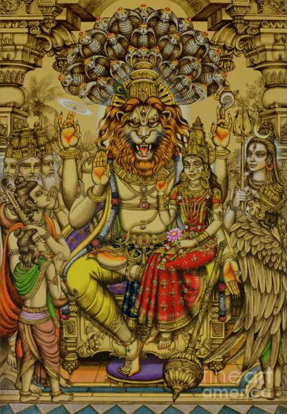 Wall Art - Painting - Lakshmi Narasimha Prahlad  by Vrindavan Das