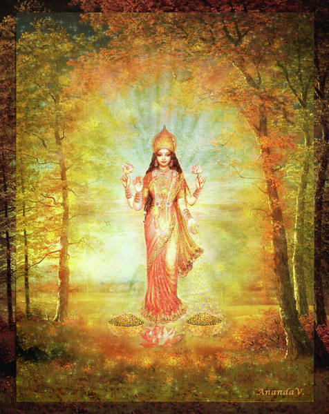 Wall Art - Mixed Media - Lakshmi Vision In The Forest  by Ananda Vdovic