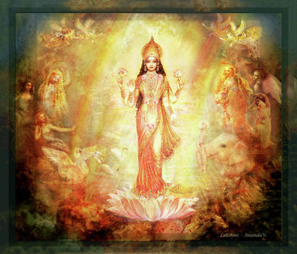 Wall Art - Mixed Media - Lakshmi With Angels And Muses 1 by Ananda Vdovic