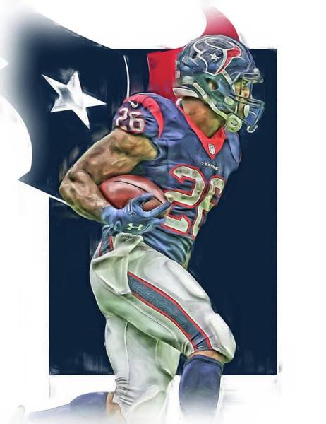 Wall Art - Mixed Media - Lamar Miller Houston Texans Oil Art by Joe Hamilton