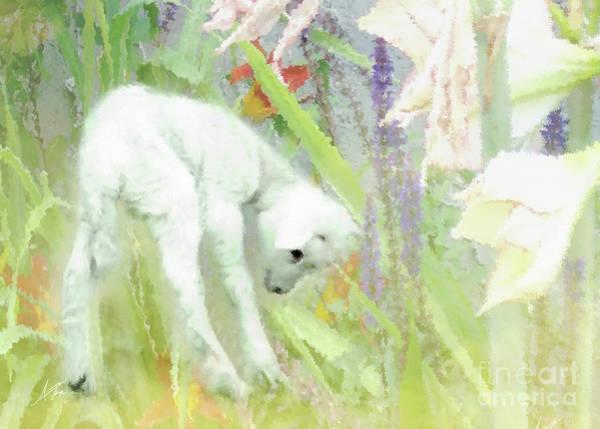 Easter Sunday Digital Art - Lamb And Lilies by Anita Faye