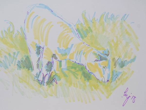 Drawing - Lamb Grazing Drawing by Mike Jory