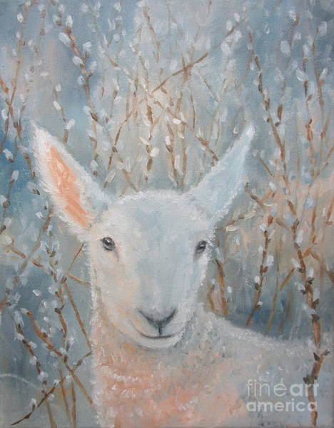 Painting - Lamb In The Willows by Sherri Anderson