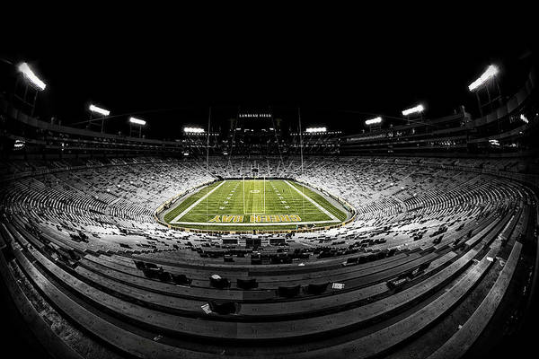 Green Bay Packers Wall Art - Photograph - Lambeau Field At Night by Robert Hayton