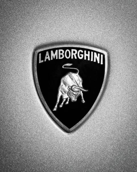 Photograph - Lamborghini Emblem -1222bw45 by Jill Reger