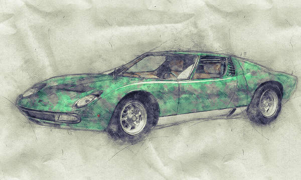 Super Car Mixed Media - Lamborghini Miura 1 - Sports Car - 1966 - Automotive Art - Car Posters by Studio Grafiikka