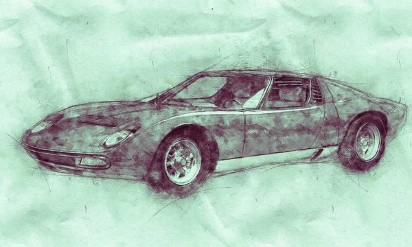 Super Car Mixed Media - Lamborghini Miura 3 - Sports Car - 1966 - Automotive Art - Car Posters by Studio Grafiikka