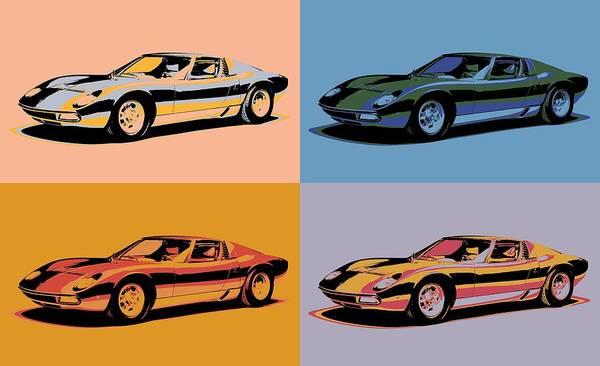 Fast Mixed Media - Lamborghini Miura Pop Art by Dan Sproul