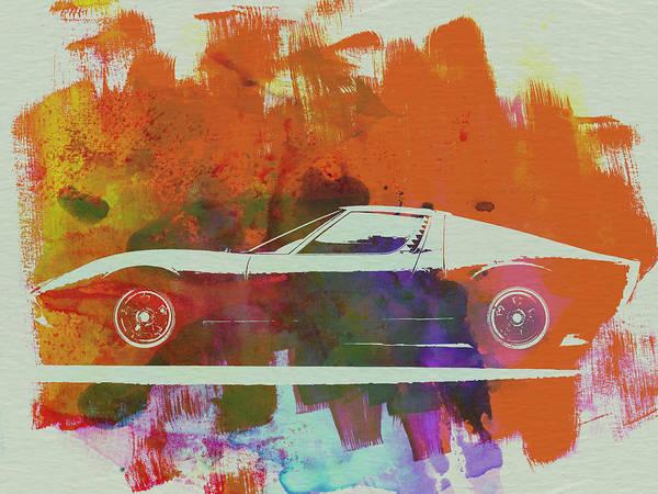 Wall Art - Painting - Lamborghini Miura Side 2 by Naxart Studio