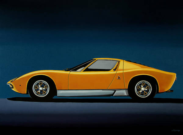 Old Car Wall Art - Painting - Lamborghini Miura 1966 Painting by Paul Meijering