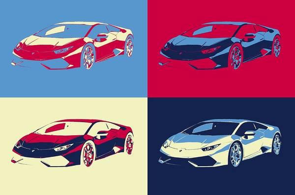 Fast Mixed Media - Lamborghini Pop Art Panels by Dan Sproul