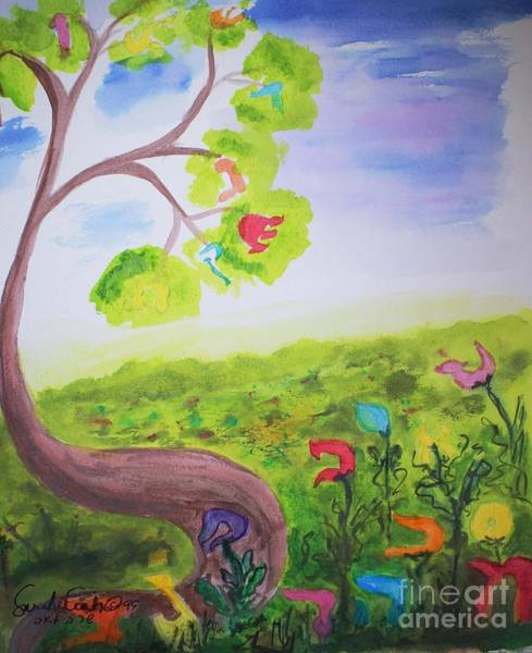 Painting - Lamed Learning  Tree by Hebrewletters Sl