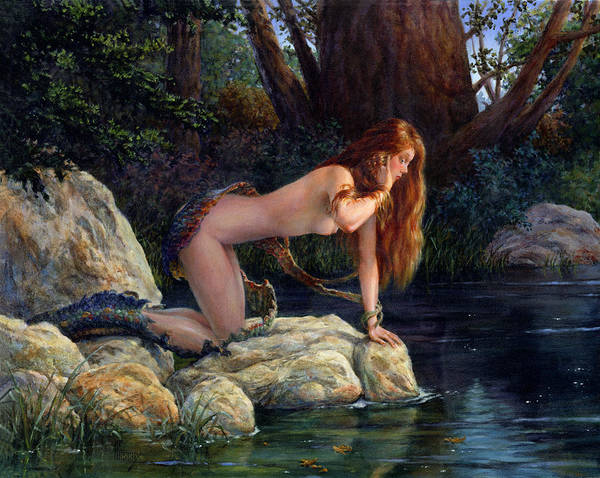 Dryad Wall Art - Painting - Lamia Transformed by Richard Hescox