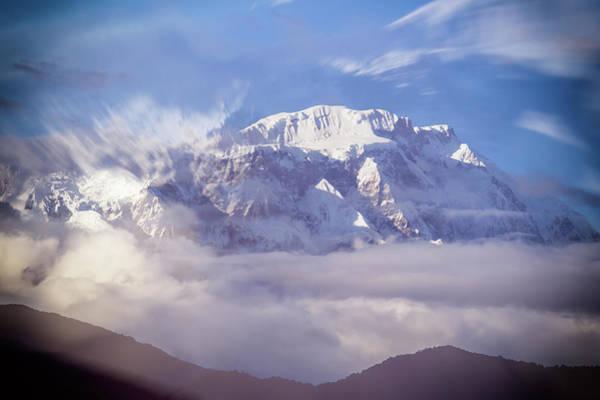 Exploring Mixed Media - Lamjung Himal Peak Above The Clouds by Yuka Ogava