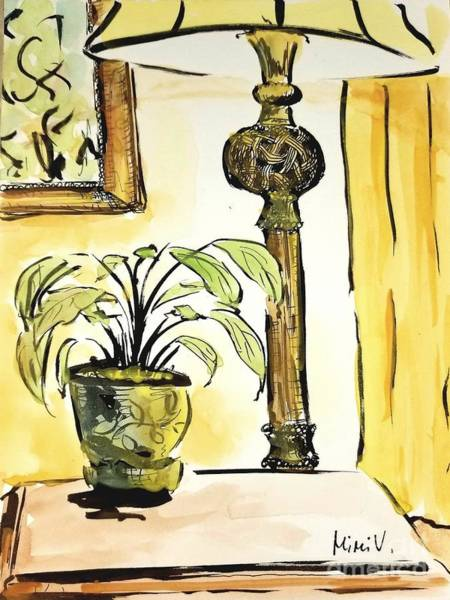 Painting - Lamp And Plant by Maria Langgle