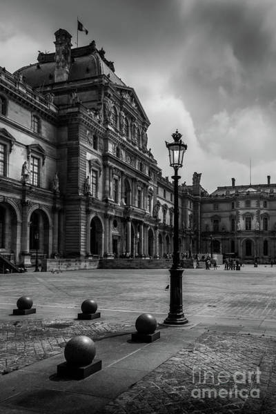 Cours Photograph - Lamp In The Louvre Courtyard, Paris, France by Liesl Walsh